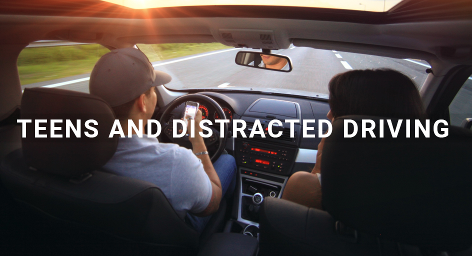 two teenagers driving in a car using cell phones while driving